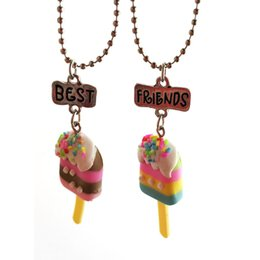 """Chinese  2 pcs set Ice Cream Necklace """"Best Friend Forever"""" Lovely Heart Friendship Creative BFF Keepsake Christmas Gift for children drop ship manufacturers"""