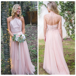 Wholesale 2018 Halter Lace Top Long Bridesmaid Dresses A Line Sexy Backless Maid of Honor Gowns Western Country Wedding Guest Dress Custom