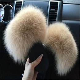 Flat slippers For ladies online shopping - 2018 Women s Furry Slippers Ladies Cute Plush Fox Hair Fluffy Slippers Women s Fur Slippers Winter Warm Slippers for Women Hot