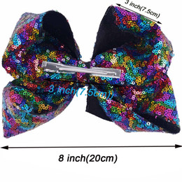 hair bow bling accessories Australia - Headwear 8 Pieces Lot 8 Sequin Hair Bows With Clips For Kids Girls Handmade Large Bling Rainbow Sequin Bows Hairgrips Hair Accessories