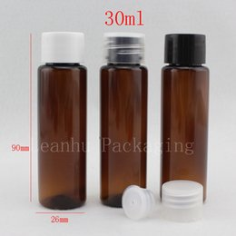 Travel Plastic Cosmetic Bottles Canada - 30ml X 100 brown empty small plastic bottle with screw cap ,30cc sample amber cream lotion cosmetic container , travel kits