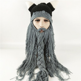 9e33f567679 Funny Wig Beard Viking Handmade Knitted hats Winter Warm Crochet Caps Men  Women Halloween Christmas Gift Party Face Mask Beanies Xmas horn