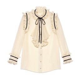 Quality Blouses Ruffles Canada - High Quality New Fashion 2018 Runway Designer Blouse Shirt Women's Vintage Ruffles Bow Long Sleeve XL Chiffon Shirt