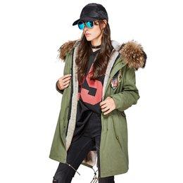 $enCountryForm.capitalKeyWord NZ - New 2018 Fashion Winter Woman Large raccoon Fur Collar parka midi Hooded Coat Outwear beading Military Long Jacket