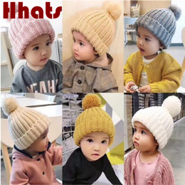 $enCountryForm.capitalKeyWord NZ - Children Knitted Winter Hat With Pompom Top Solid Baby Girl Pom Pom Skullies Beanie Winter Outdoor Windproof Kids Boy Pompon Cap