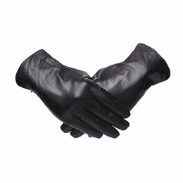 Leather Gloves For Men UK - Gours Genuine Leather Gloves for Men Fashion Brand Black Goatskin Finger Button Gloves Driving Warm In Thick Winter New GSM044