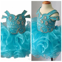 $enCountryForm.capitalKeyWord Australia - 2019 Off Shoulder Beaded Girls Cupcake Dresses Toddler Mini Short Birthday Party Gowns Infant Tutu National Pageant Cupcake Gowns