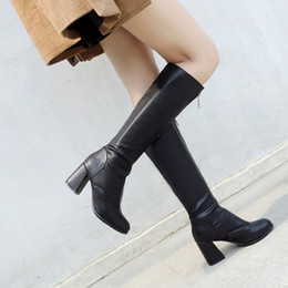 Short White High Heels NZ - SJJH Women Winter Long Riding Boots with Round Toe Chunky Heels Zip Short Plush Knee-High Boots Winter Fashion Roman Shoes Large Size A908
