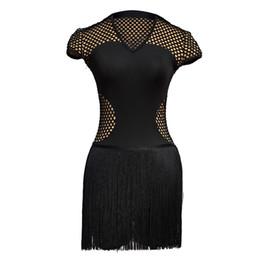 baf264734171e Black tassel latin dance dress women tango dress salsa rumba modern dance  costumes Lady latin dancing clothes Dancewear