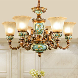 free energy saving bulbs Australia - Pendant lamps European resin pendant chandelier light elegant luxury vintage American royal fancy led pendant lighting with free bulbs