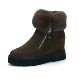 $enCountryForm.capitalKeyWord UK - 2018 Winter Women Boots Shoes Woman Increased Internal Wedges Faux Fur Turned-over Edge Fashion Snow Boots Heels High Quality