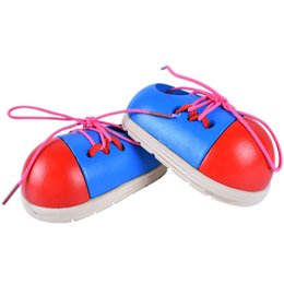 Learning wooden toys online shopping - Wooden Small Shoes Baby Learns To Tie The Shoelace And Wear A Rope Early Childhood Intelligence Toy Children Puzzle Toys pd W