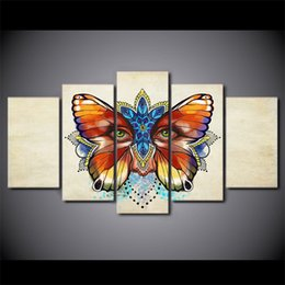 cartoon butterfly pictures NZ - HD Printed 5 Piece Canvas Art Butterfly Eye Wall Pictures for Living Room Modern Free Shipping Posters And Prints