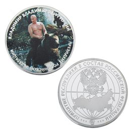 Plates Gift Europe UK - 1 oz 999 Silver Plated Badge Trump and Putin Kuso Funny Metal Commemorative Coin Festival Souvenir Gifts Collection
