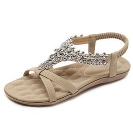 9f750131e7c Black Flat Back Crystals UK - Summer Women Sandals 2018 Fashion crystal  Bohemia Women s Shoes Casual