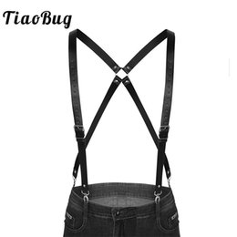 Wholesale TiaoBug Black Imitation Leather Double Shoulders Braces Straps Men Adjustable Suspender Men s Harness Belt with Buckles Clasps
