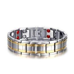 $enCountryForm.capitalKeyWord UK - Stainless steel Watch band style bracelet for Man 15MM inlay Germanium Magnet stone sliver color bracelet Euramerican boy gift
