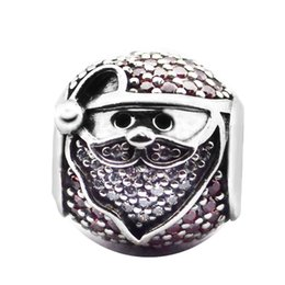 $enCountryForm.capitalKeyWord Australia - New Authentic 925 Sterling Silver Bead Sparkling Jolly Santa Pave Red & Clear Crystal Charm Fit Pandora Bracelets DIY Jewelry Making