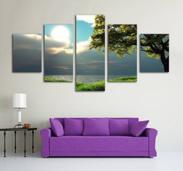 Oil painting seaside online shopping - No Frame Pieces Modern Art Painting Canvas Print Beautiful Tree Seaside Oil Painting Wall Pictures for Living Room Modern Home Decoration