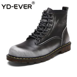 ba4cebfc53e YD-EVER genuine leather men boots Ankle Boots Lace-Up Casual shoes Top  Quality retro Cow fashion Vintage Motorcycle