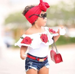 3d christmas shirts NZ - 2pc Cotton Set 2018 Summer Baby Girls Clothes Embroidered 3D Flower sleeveless Ruffle round neck pullover T-Shirts Denim Hole Pants