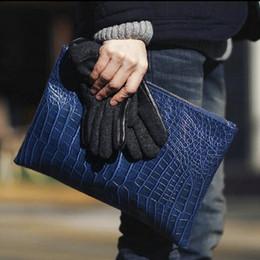 Discount crocodile grain handbags - European and American style crocodile grain men envelope clutch bag PU leather Women's Clutches bolsas evening bags