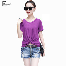 Cropped Tees Canada - Summer T-Shirts Women Fashion Short Sleeve Casual V Neck Tops Slim Black White Purple Cute Girls Short Crop Top Tees 7229