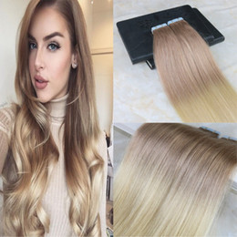 Dip Dye brazilian hair online shopping - Glue in Colored Extensions Full Head Two Tone Ombre Hair Extensions Dip Dye Hair Color Dark Ash Blonde to G