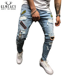 legging destroyed 2019 - Men's Destroyed Slim Fit Straight Leg Patchwork Embroidered Ripped Jeans Pants With Broken Holes and Patches discou