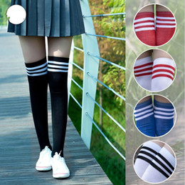 05d7f85f5 Blue Black Stripe Women Lingerie Sexy Stockings 2018 High Over The Knee Socks  Thigh High Stockings Student Cosplay Long Socks