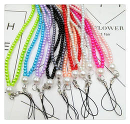 Cell Phone Jewelry Charms Canada - Cell Phone Straps Pearl mobile phone hang neck wholesale diy jewelry mobile phone chain factory for glass multicolored pearl neck rope