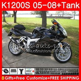 fairing bmw k NZ - Gloss black Body For BMW K1200 S K 1200 S 05 10 K1200S 05 06 07 08 09 10 103HM.22 K-1200S K 1200S 2005 2006 2007 2008 2009 2010 Fairing kit