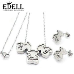 Bear Earrings Pendant NZ - EDELL Stainless Steel Charm Silver Color Cute Three Bear Print Love Long Earrings Pendant Necklace Set Original Women Wedding