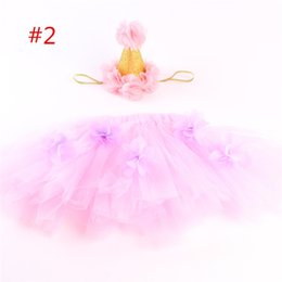 Baby Pettiskirts Tutus NZ - ins infant tutu skirts baby girls crown headbands + newborn flower tulle tutus skirt and tops sets newborn photography props pettiskirts B1