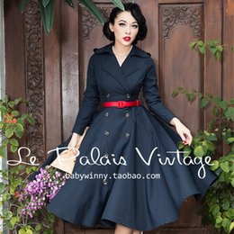 40- women le palais vintage 50s black long sleeve double breasted swing  ladies trench coat plus size abrigos mujer elegant coats 06c53667a07f