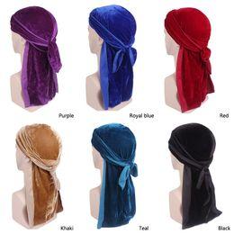 Doing hair online shopping - Muslim Men Women Bandana Velvet Turban Hat Silky Durag do doo du rag Headwear Headscarf long tail headwrap Skull Cap Hair Accessories