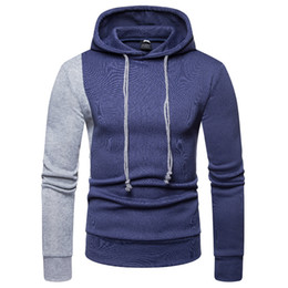 Wholesale personality fashion sweater men resale online – Hoodied Pullover Sports Sweater Sweatshirts Men Fashion Panelled Contrast Color Hooded Men Clothing Cotton Personality Streetwear Hip Hop