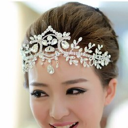 Silver Plated Crystal Latin Dance Hair Accessories Wedding Tiaras Hair  Jewelry Bridal Forehead Head Piece Crystal Head Chain 0724f7492288