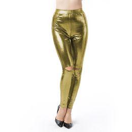 Leggings Shine UK - Sexy Slim Pencil Pants Hole Bright High Waist Candy Colours Solid Leggings Shining Stretch Slim Pants Women