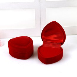 Wedding Display Cases Canada - Jewery Organizer Box Rings Earrings Storage Small Gift Box DIY craft Display Case Package Wedding etc red heart velvet