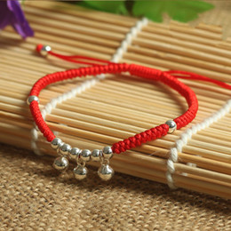 $enCountryForm.capitalKeyWord NZ - 925 Sterling Silver Small Bell Pendant Lucky Red Rope Bracelet Handmade Bangle Wax String Amulet Jewelry S915