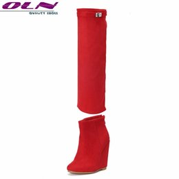 2eb2ad3aae2 OLN New Sexy Women Knee High Boots Zip Ankle Super High Wedges Heels Plus  Big size 3-16 Handmade Quality Two Ways to Wear Shoes