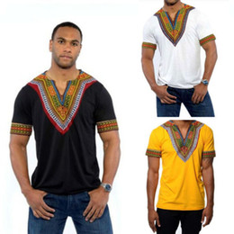 a64c67f1773 New African Aashiki Style Summer Men s Printed T-Shirt Short Sleeve 2018  Hipster HipHop V Neck Elongated Longline Mens Tops Plus Size XS-XXL