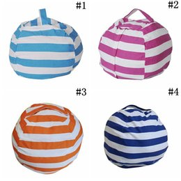 Doll chairs online shopping - Stripe Bean Bag inch Beanbag Chair Kids Bedroom Stuffed Animal Dolls Organizer Plush Toys Bags Baby Play Mat Colors OOA4353