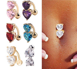 navel piercing gold heart 2019 - 500pcs 5 Colors Crystal Bar Belly Ring Gold Body Piercing Button Navel Two Heart body pierce jewelry R174 cheap navel pi