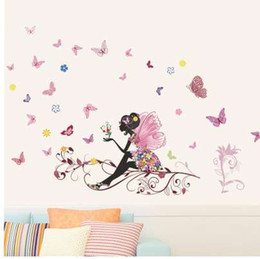 girls rooms decor UK - Beautiful Girl Butterfly Flower Art Wall Sticker For Home Decor DIY Personality Mural Child Room Nursery Decoration Print Poster
