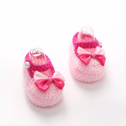 Crochet Baby Footwear Australia - 1Pair Cute Crib Crochet Casual Baby Girl flower Handmade Knit Sock Bow Infant Woolen Shoes baby Summer shoes for girls footwear