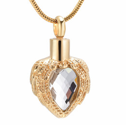 lockets for pet ashes UK - IJD8719 Gold Heart Memorial Urn Pendant Multi-colour Birthstone Inlay Feather Cremation Necklace Ash Locket for Human Pet Funeral Memorial