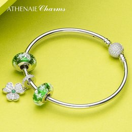 $enCountryForm.capitalKeyWord NZ - ATHENAIE 925 Sterling Silver Shamrock Hearts Pendant with Green Snowflake Charm Beads Bracelets & Bangles For Women