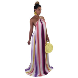 0e18eebc842 Echoine Rainbow Print Halter Long Dress 2018 Summer Backless Women Dresses  Casual Loose Dress with Big Swing Plus Size Vestidos